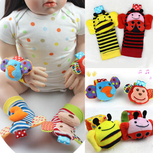 Soft Toy Animal Baby Infant Kids Hand Wrist Bells Foot Sock