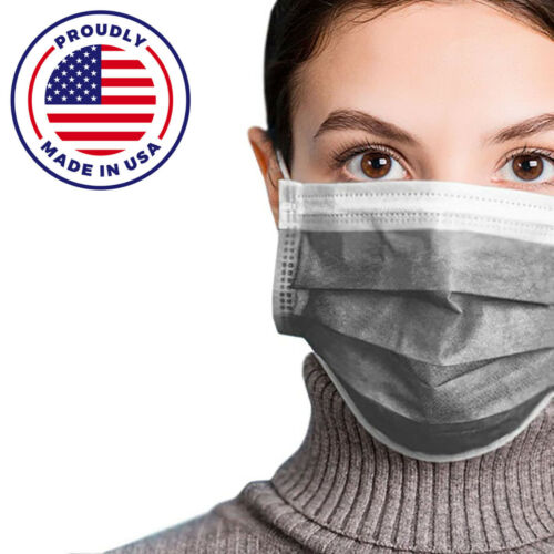 MADE IN USA 50 PCS GRAY Color Face Mask Mouth & Nose Protector Respirator Masks