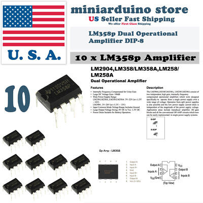 10pc Lm358 Lm358n Lm358p Dual Op Amp Dip-8 Low Power Operation Amplifier