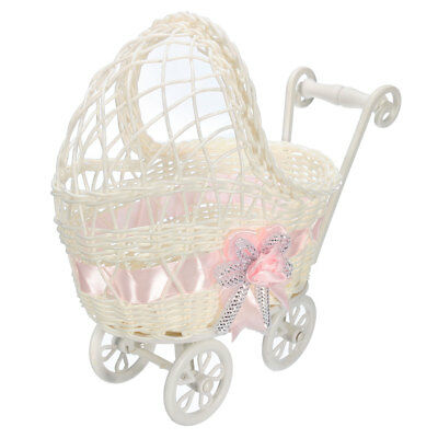 Baby Shower Carriage Wicker Table Centerpiece Favors Girl Gifts Decorations Pink