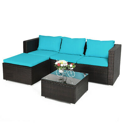 Garden Furniture - 4PCS Patio Rattan Furniture Set Loveseat Chair Cushioned  Garden Yard