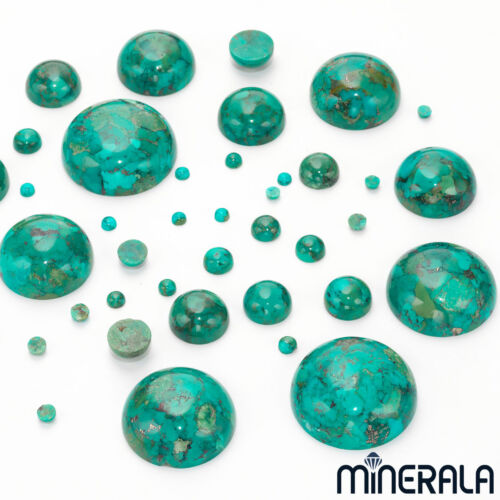 NATURAL PRESSED TURQUOISE LOOSE GEMSTONE CABOCHON ROUND VARIOUS SIZES WP00087