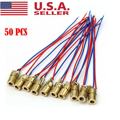 50pcs 5v 5w Laser Dot Diode Module Head Wl Red Mini 650nm 6mm Copper Head