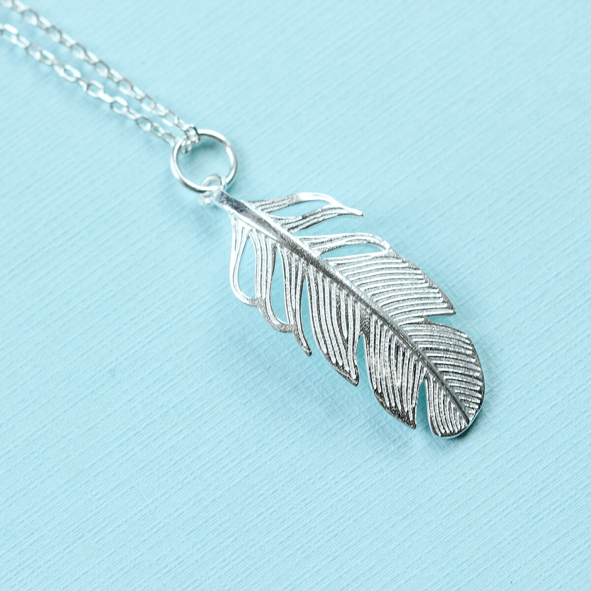 925 Sterling Silver Double FEATHER Pendant Necklace Feathers Christmas Gift Bxd