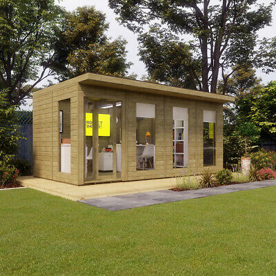 16 x 10 Pressure Treated Pent Summerhouse Garden Office with Fixed Window