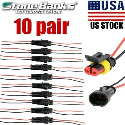 10 Pairs 2-pin Car Waterproof Male Female Two Way Electrical Connector Plug Wire