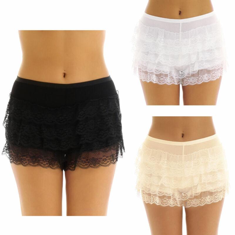 NEW Women Lace Tiered Skirts Short Skirt Under Safety Pants Underwear shorts UK