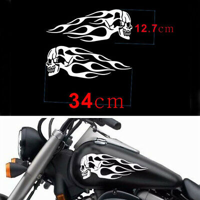 """White 13.5""""x5"""" Skull Flame Stickers Decal Waterproof For Motorcycle Gas Tank"""