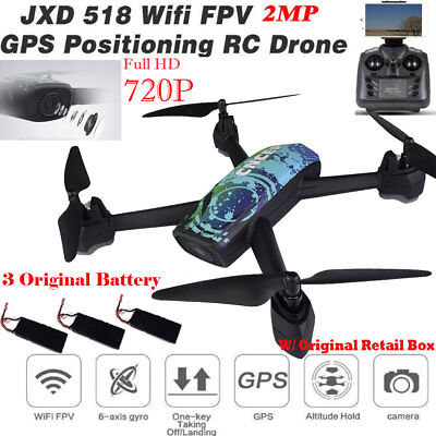JXD 518 RC Quadcopter 2.4GHz Full HD 720P Camera WIFI FPV GPS Mining Point Drone