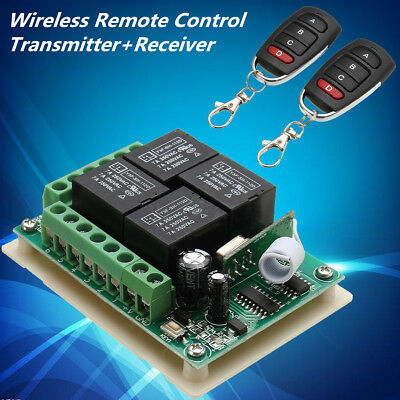 433Mhz DC 12V 4CH Channel Wireless Remote Control Switch Receiver with Relay RF