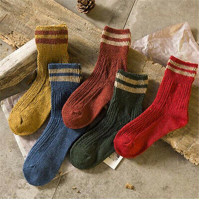 2018 New Womens Cashmere Wool Thick Warm Socks Winter Fashion Striped (Thick Womens Fashion)