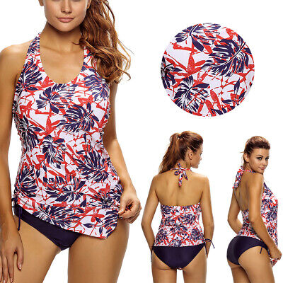 Floral Hawaiian Yoga Sport Long Tankini Halter Top Bikini Beach Swimsuit S-3XL Halter Long Tankini