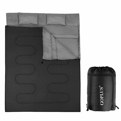 Double 2 Person Sleeping Bag Waterproof w/ 2 Pillows Camping Queen Size XL](Personalized Sleeping Bags)