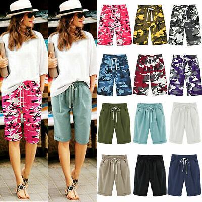 Women Casual Loose Shorts Bermuda Capri Trousers Lady Summer Beach Cropped Pants Ladies Cropped Pants