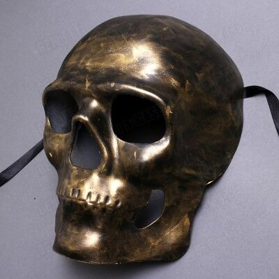 Dark Gold Black Scary Full Face Skull Skeleton Halloween Mask Masquerade - Halloween Scary Skull