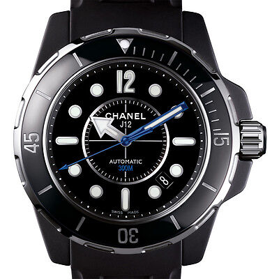 Chanel J12 Marine H2558 Black Ceramic 42mm Mens Automatic Watch Rubber Strap