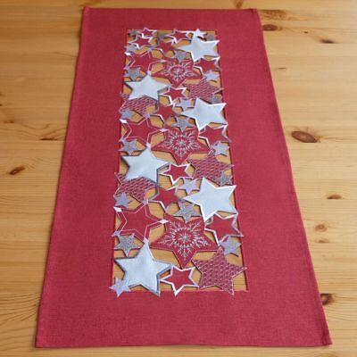 x 85 cm Weihnachten Sterne silber Tischdecke Tischdeko kurz  (Kurze Tischläufer)