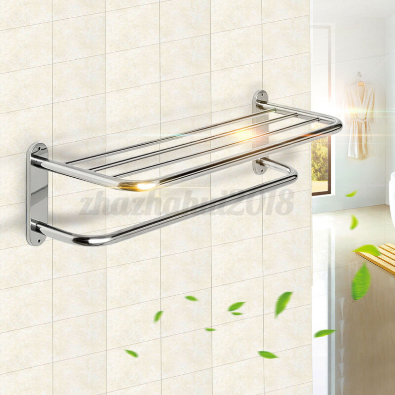 Wall Mounted Towel Shelf Double Layers Rail Holder Storage Rack Stainless Steel