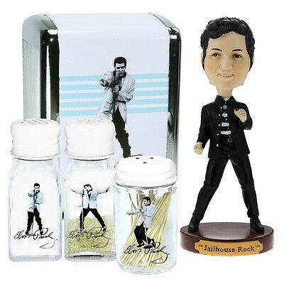 Elvis Presley Bobblehead Kitchen Collectible Napkin Toothpick Salt Pepper Shaker