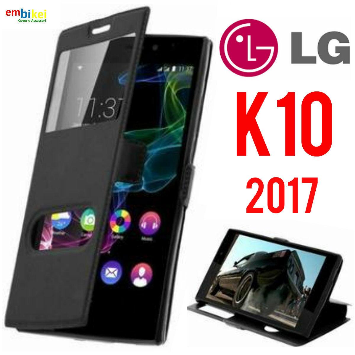 Custodia LG K10 2017 Flip Cover Libro Portafoglio Finestra Doppia Protezione