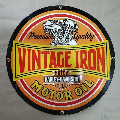 HARLEY DAVIDSON VINTAGE IRON MOTOR OIL PORCELAIN ENAMEL SIGN 30 INCHES ROUND