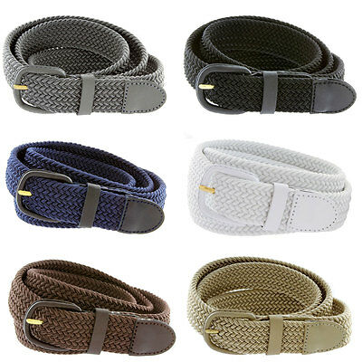 7001 Mens Leather Covered Buckle Woven Elastic Stretch Belt 1 1 4  Wide