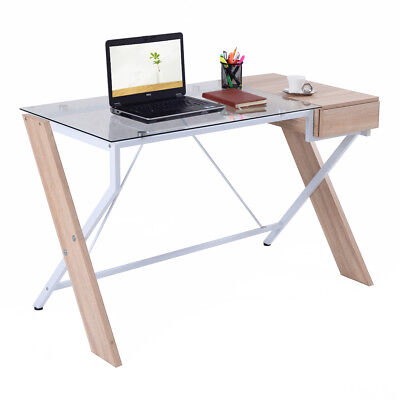 Computer Desk Laptop Table Glass Top Wood Metal Frame Home Office Furniture New