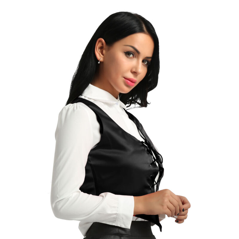dPois Womens Medieval Wench Pirate Fair Renaissance Halloween Cosplay Costume Lace Up Corset Vest Bodice