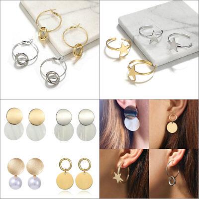 Mini Drop Metal Geometric Earrings Women Round Coin Wafer Dangle Jewelry Earring Coin Jewelry Earrings