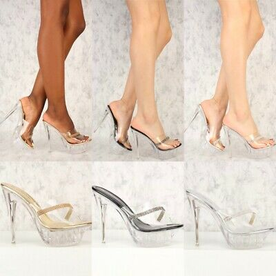 Stripper Exotic Dancer Slip On Lucite Clear High Stilettos Heels Platform H194 Stiletto Heels Platform Stripper