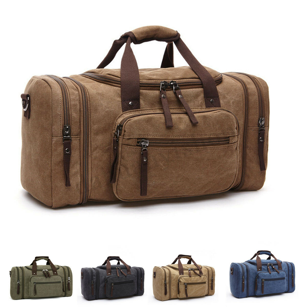 large vintage men canvas luggage duffle bag