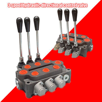 Hydraulic Control Valve 3 Spool Tractor Loader 3000psi 25gpm 12 Npt Work Ports