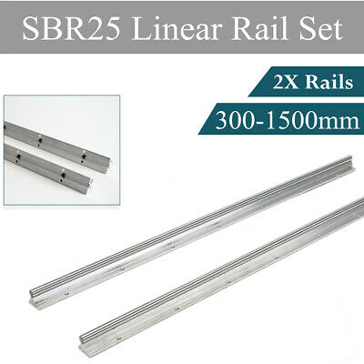 2pcs Sbr25 300-1500mm Linear Rail Guide 25mm Fully Supported Shaft Rod For Cnc