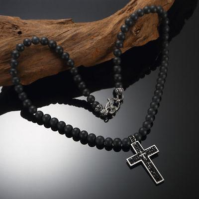 Herren Onyx Halskette Collier Rosenkranz Edelstahl Kreuz Anhänger Biker Schmuck
