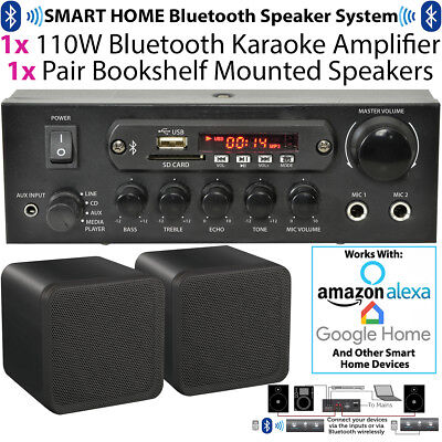 110W Bluetooth Amplifier & 2x 80W Black Shelf Speakers–Compact Wireless HiFi Kit