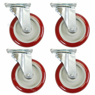 4 Pack 5 Inch Caster Wheels Swivel Plate Polyurethane Wheels Heavy Duty Wheels