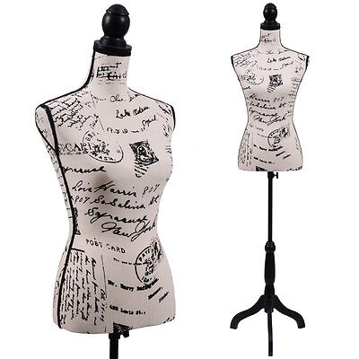 -  Female Mannequin Torso Clothing Dress Form Display Black Tripod Stand New