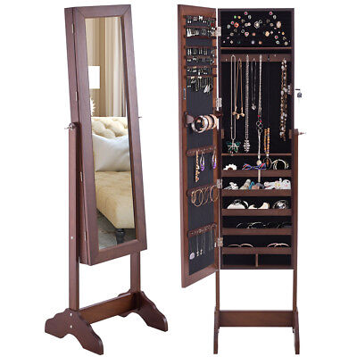 Mirrored Jewelry Cabinet Armoire Storage Organizer Box w/ Stand Christmas Gift