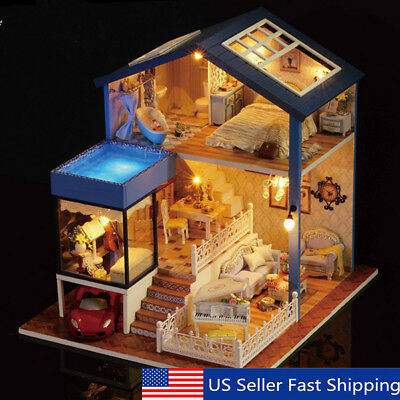 Seattle Cottage Dollhouse Miniature DIY Kit Dolls House with Furniture    US y