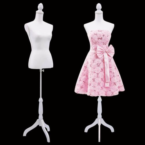 Female Mannequin Torso Clothing Display w/White Tripod Stand White Adjustable