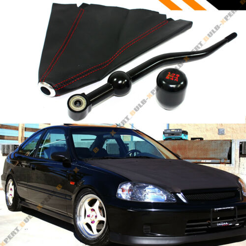 FOR 88-00 HONDA CIVIC DUAL SHORT SHIFTER+ BLK TYPE-R SHIFT KNOB + LEATHER BOOT