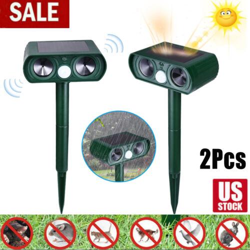2PACK Animal Repeller Ultrasonic Solar Power Outdoor Pest Cat Mice Deer Sensor