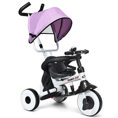 4-In-1 Kids Baby Stroller Tricycle Detachable Learning Toy Bike w/ Canopy Bag