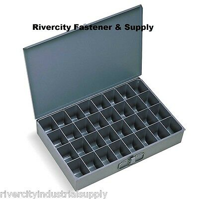LARGE METAL 32 HOLE STORAGE BIN TRAY FOR NUTS, BOLTS