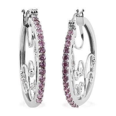 Round Cubic Zircon Pink Hoops Hoop Earrings Jewelry for Women Cttw 3.8