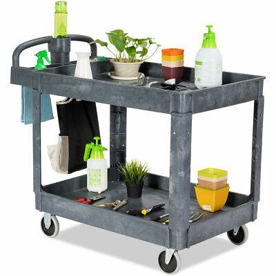 550 Lbs Multipurpose Plastic Service Cart Utility Rolling Cart W2 Shelves