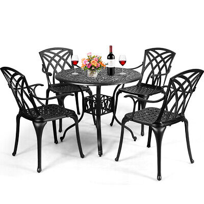 Garden Furniture - 5PCS Cast Aluminum Patio Dining Set Durable Umbrella Hole Garden Deck Furniture