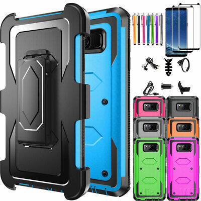 Samsung Galaxy S8 / S8 Plus Case Clipstand Cover Tempered Glass Screen Protector