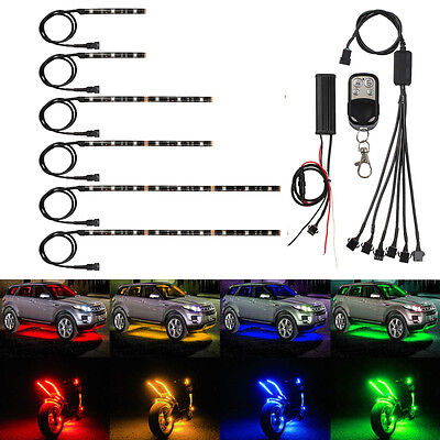 15 Color 6Pcs RGB Motorcycle ATV Flexible Strip LED Light Lamp NEON Remote Kit