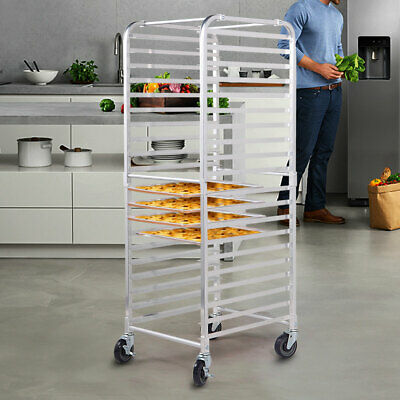 20 Sheet Aluminum Bakery Rack Rolling Commercial Cookie Bun Pan Kitchen Wwheel